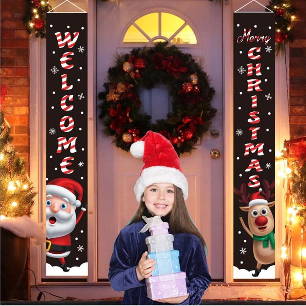 Natale Couplet Porta Banner Portico Segno di festa di Natale Hanging Decoration Porch segno decorativo Family Party negozio Mall