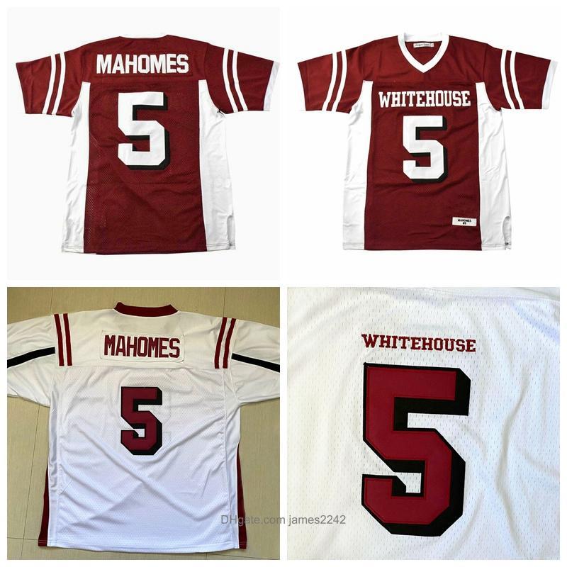 Patrick Mahomes # 5 Whitehouse Jersey du football de lycée Blanc Rouge Cousu S-3XL de haute qualité Livraison gratuite