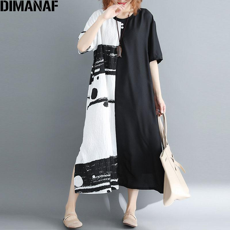 DIMANAF Summer 2020 Women Dress Plus Size Patchwork Black White Linen Button Female Vintage S Vestidos Oversized Long Dress