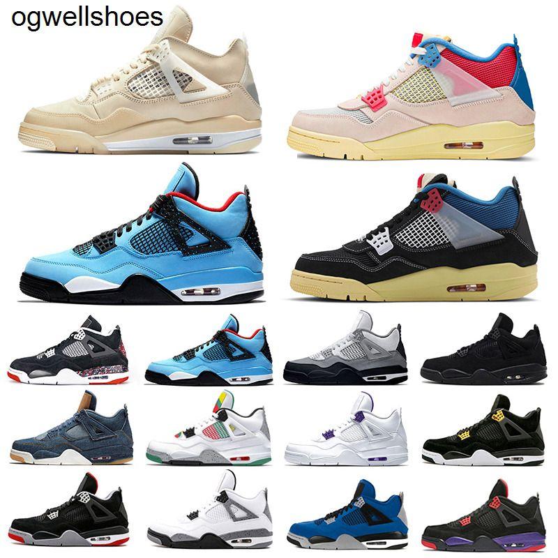 Nike Air Jordan Retor 4 Sail Union x Jumpman 4 Mens Basketball shoes Neon Metallic Pack Royalty cactus Jack White Cement 4s Pure Money Trainers Men Sports Sneakers