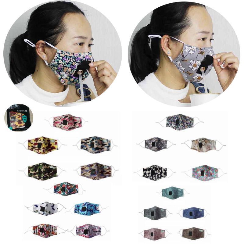 Máscara de hombres y mujeres de paja con jugo Agujero Agua Potable algodón estampado floral a prueba de polvo Diseñador Boca máscara protectora del camuflaje HH9-3128