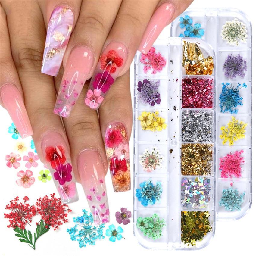 Adesivos de unhas Real Natural Secado Flores Nails Kit de Arte Suprimentos 3D Applique Manicure Decoração De Decoração Glitter Decalques Para Dicas Decor