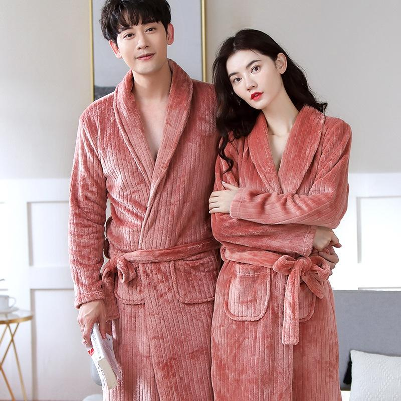 Sıcak Ev giysiler pijama sonbahar kış Yeni konforlu sıcak pijama gecelik sonbahar ve erkekler için kış kalın ev giysileri gecelik Çift