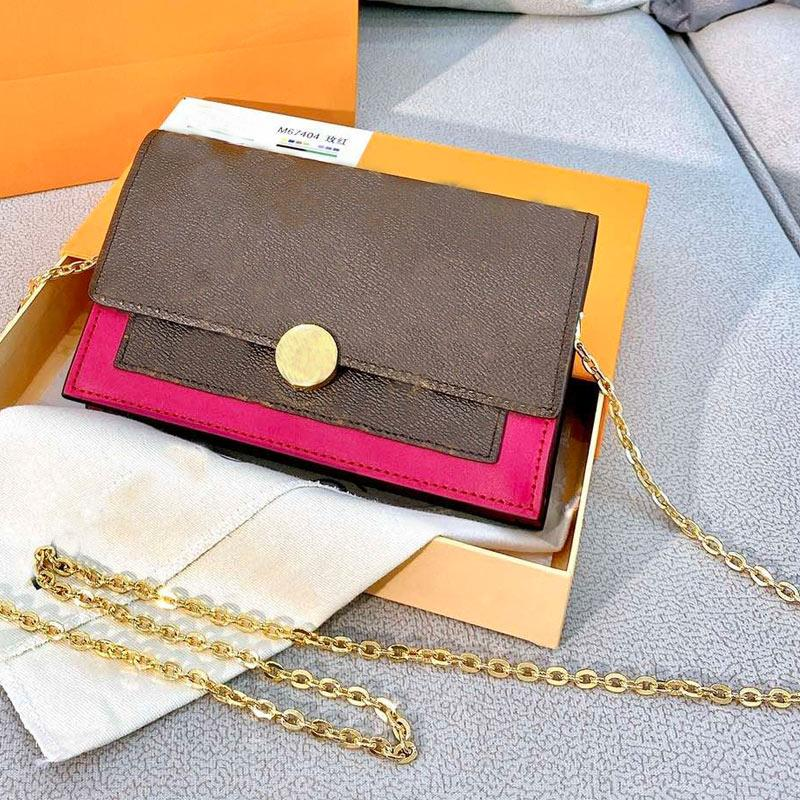 Chain Shoulder Bags Women Handbag Purse Genuine Leather Cross Body Bag Old Fower Letter Hand Bag hasp Clutch bag Phone Card holder pouch