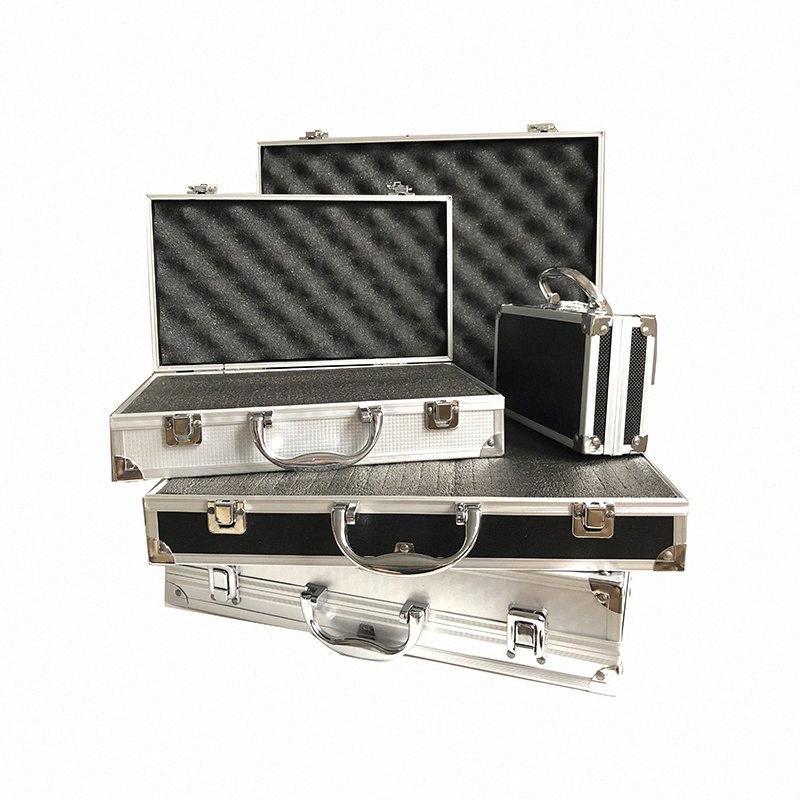 Caja de herramientas resistente caja de herramienta de aleación de aluminio Perfil Caja de herramientas portátil Equipo de seguridad del instrumento Caso Impacto al aire libre con la esponja v9WO #