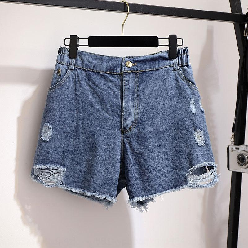 grandes gordura 6oe2n 300 kg das mulheres tamanho Shorts I4VMt mm2020 verão rasgado rebarbas hot pants denim calções de emagrecimento em forma de um h ampla perna solta