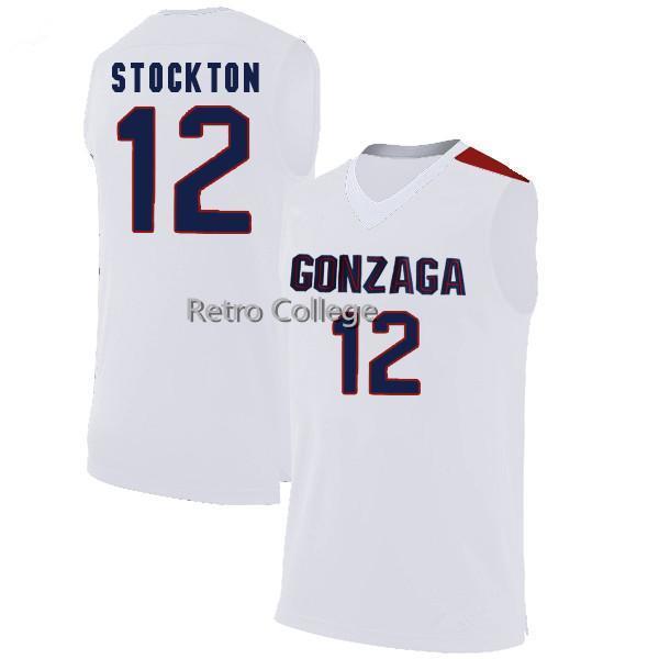 Gonzaga Bulldogs # 12 John Stockton Basketball-Trikots Retro Top Stich vernäht fertigen jede Namensnummer XS-6XL Weste Trikots