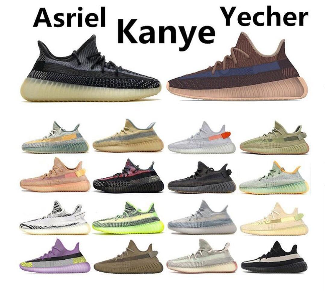 2020 Männer Frauen Kanye West Yecher Asriel Israfil Sulfu Run Schuhe Hecklicht Statische Zebra Leinen Citrin Gid gezüchtet Earth Cinder Trainer Sneaker