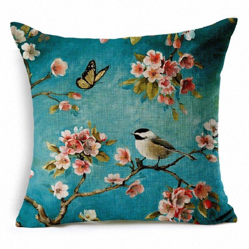 Cuscino di alta qualità Bohemian Lino Car Cover decorativa domestica Uccello Fiore Blue Square federa a olio dipinta a 45 * 45 Divano Cojines LqRc #