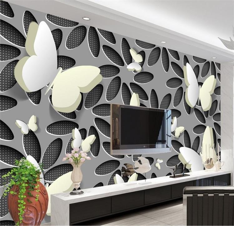 Lrge пользовательских обоев 3D бабочки цветок мода ТВ фоне стены пользовательский 3d фото обоев номер стенной
