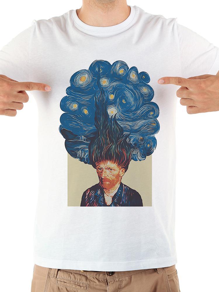 Звездная ночь в Ван Гог волос смешных Tshirt мужчин 2019 летом новый белый случайные короткий рукав круто тенниска Ьотте