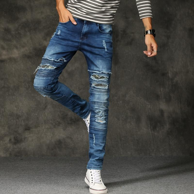 Jeans Menores 2021 Estilo De Moda Hombres Moto Biker Skinny Slim Slim Fit Hombre Romada Pantalones Denim Denomado Males Negro, 209,205
