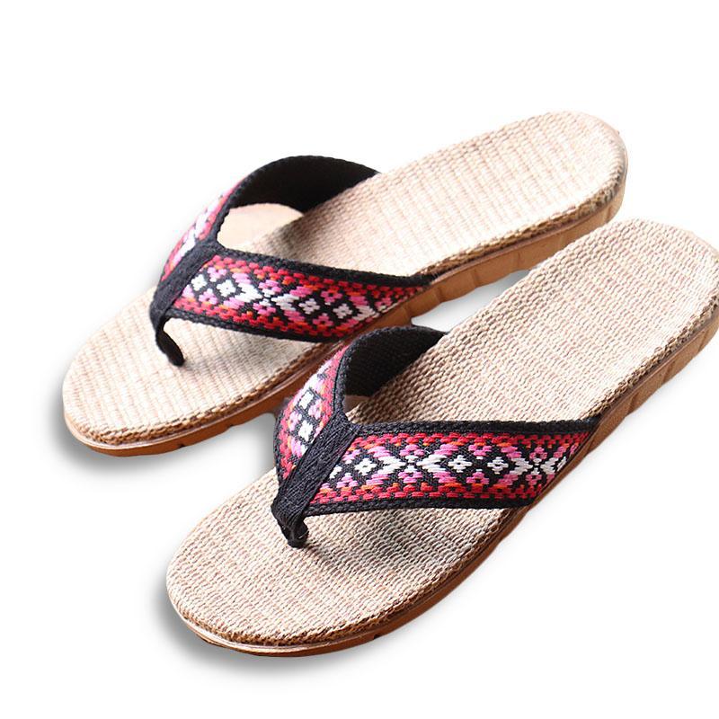 Pantofole Summer Linen Women Etny Lattice Tessuto EVA Piatto Piano Antiscivolo Lino Flip Flip Flop Slides Slifts Lady Sandali Paglia Shoe Beach Shoe