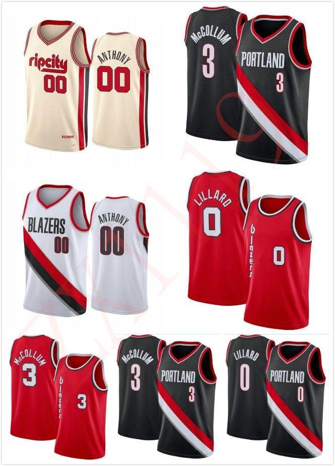 Erkekler Kadınlar Çocuklar Gençlik Clyde 22 Drexler Carmelo 00 Anthony Dikişli Basketbol Forması Erkek Damian 0 Lillard CJ 3 McCollum Rip Şehir Gömlek
