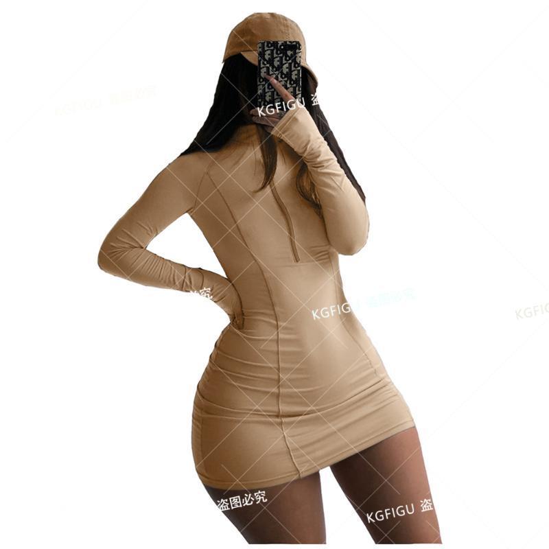 KGFIGU 2020 été robe moulante Long pour les femmes avec fermeture éclair coton Casual Mini Vestidos Vêtements pour femmes Vêtements Out-going