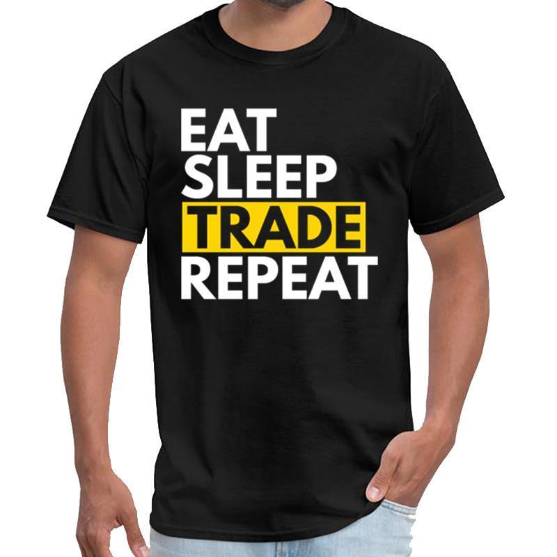 Личность фондового рынка - Eat, Sleep, торговли, повторите мазки Тенниска мужская футболка XXXL 4XL 5XL 6XL HipHop вершины