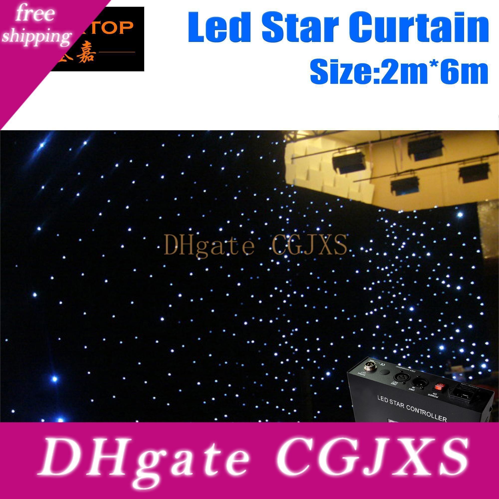 Precio barato 2m * 6m 6m * 2m alta calidad Rgbw / RGB LED de color cortina paño de la estrella con el regulador 90V -240V cortina de luz