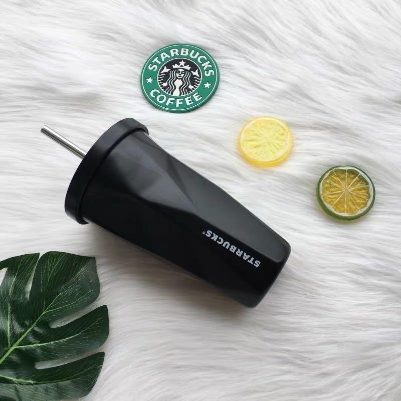Copa de acero inoxidable Starbucks Labio de labio 304 Vacío con y taza de paja Tumbler Gradient Agua Starbucks Acero Aisulado Tazas Doble Bottlle 500 Aare