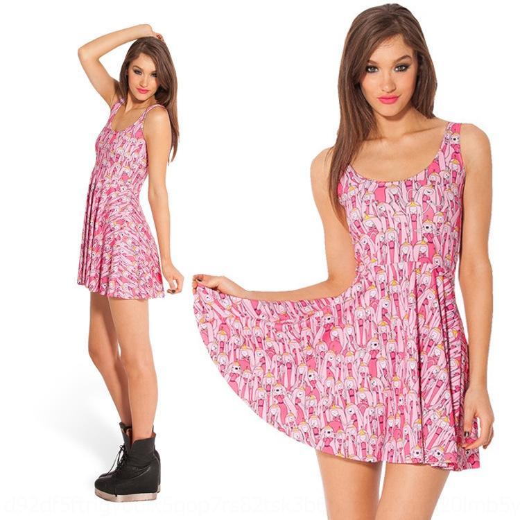 Jmibe sfe12 starry Digitaler Rock gedruckt Frauen slim-fit großes Kleid mit Ärmel Swing-Kleid-Weste Weste Himmels