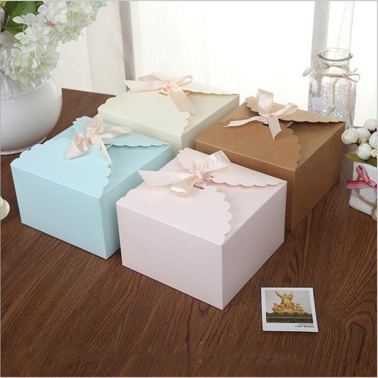 Suprimentos Gift Box Papel Praça caixa dos doces 20ocs 14.5x14.5x9cm pequeno com fita rosa Brown cartão azul partido do biscoito