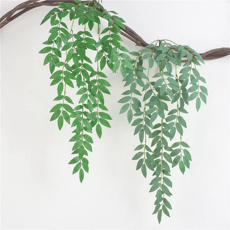 1pcs Artificial Willow Rebe grüne Blätter Simulation Pflanze Efeu Rattan-Kranz-Hochzeits-Dekoration Haus Garden Hotel Fake Flowers