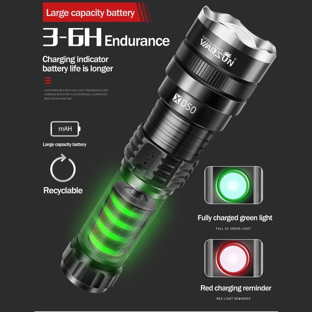 XHP70.2 súper potente linterna LED XHP50.2 táctica de la antorcha recargable del USB Lámpara impermeable ultra brillante linterna de camping 201019