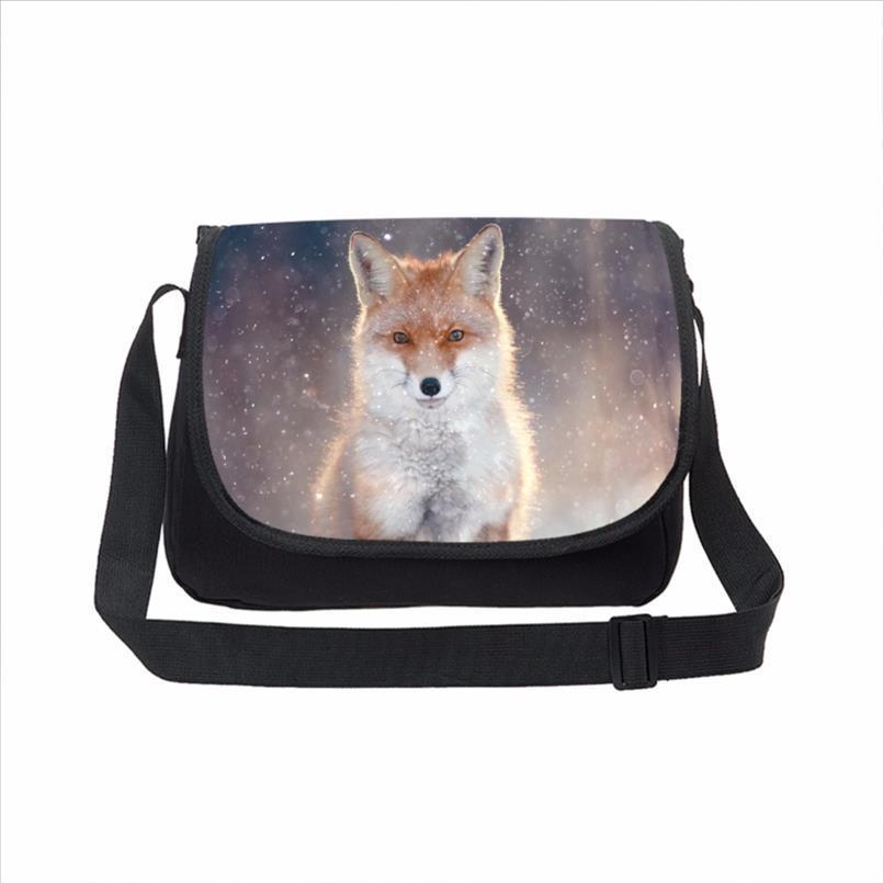 Donne Canvas Messenger Bags 3D Animal Fox Stampa Borsa casual adolescente Crossbody Scuola Moda Uomo spalla del computer portatile Satchels