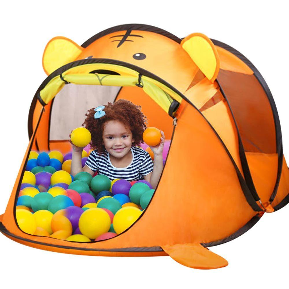 House Tent Carton Tiger Game Tent For Children Tipi Tent For Kids Dry Pool With Balls Children's House Room Baby Toys For Boys LJ200923