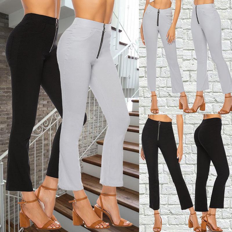 Noir Vintage Contraste solide Reliure Flare Leg taille élastique Pantalon élégant bureau Automne Lady Workwear Pantalons femme