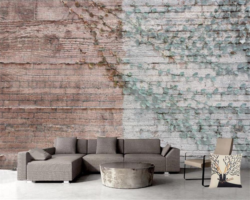 3D-Tapete auf einer Wand Bildertapete Retro Ziegelmauer Reben Garten HD Digital Printing Feuchtigkeitsbeständige Papiertapeten