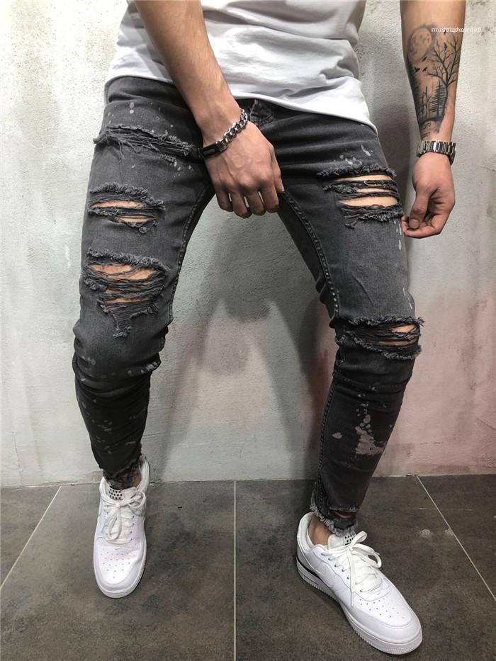 Noir Jeans Pantalons Desiginer Mode d'été Trou Vêtements Homme Zipper Crayon Pantalons simple Vêtements pour hommes