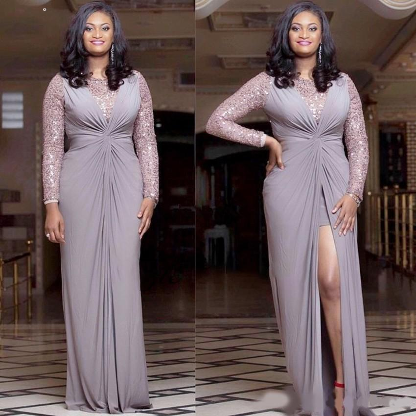 Design African Plus Size Evening Dresses Sequins Long Sleeves Front Split Chiffon Sheath Custom Made Women Formal Wear Party Prom Gowns