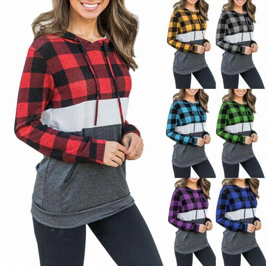 Las mujeres a cuadros con capucha remiendo Buffalo 7 colores Chequeado camiseta de manga larga con capucha de bolsillo Pullover tops de las muchachas LJJO7436-17 raYg #