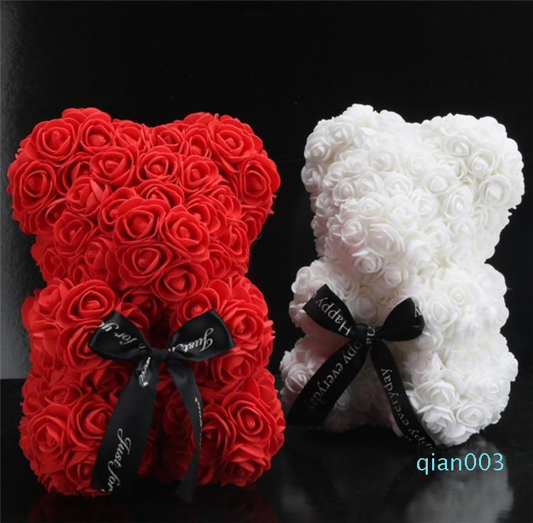 Творческий ручной работы Цветок медведь кукла 25 см розы кукла День Святого Валентина День рождения подарок Искусственного Rose медвежьего T9I00229