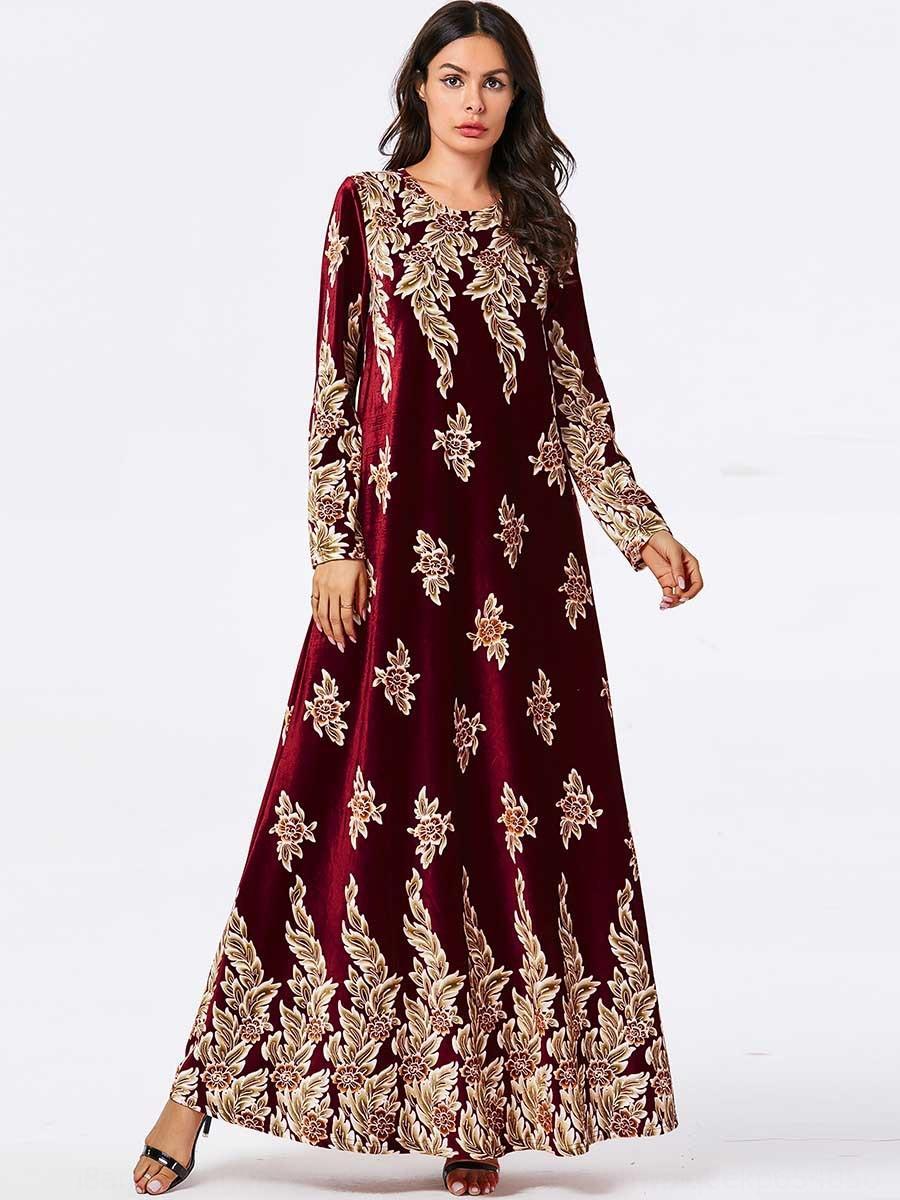 esNNw 7830 plante mode grande robe bronzante noir vêtements pour femmes de taille musulmane impression à manches longues Nfbhz robe de velours d'or casual