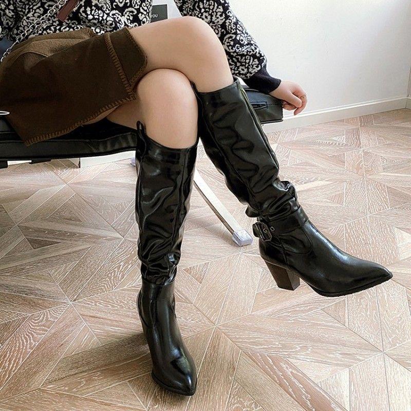 Noir Brown Talons femmes Bottes d'équitation Grande Taille 46 Mode Cuissardes Femmes Automne Hiver Chaussures Femme plissés