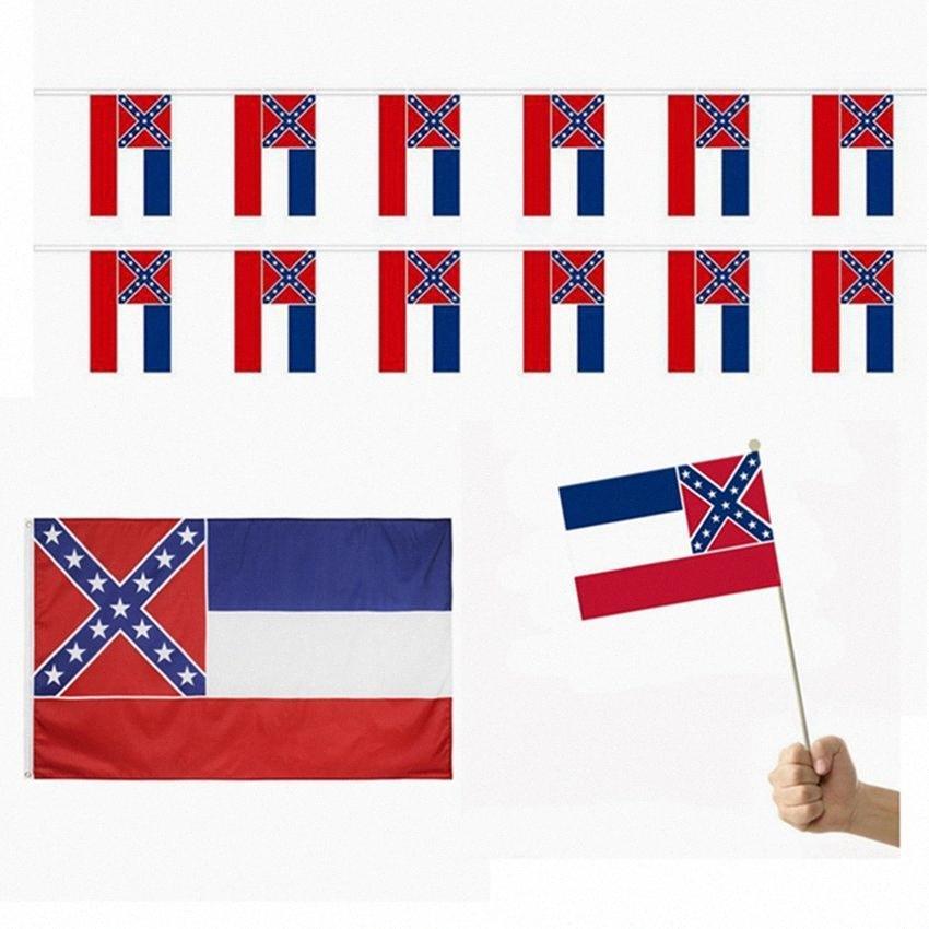 Bandera del estado de Mississippi Sra Estado de la bandera 150 * 90cm * 14cm 21 banderas de la mano de poliéster Banner dos caras impresas Estados Unidos el envío libre HHA147 BSio #