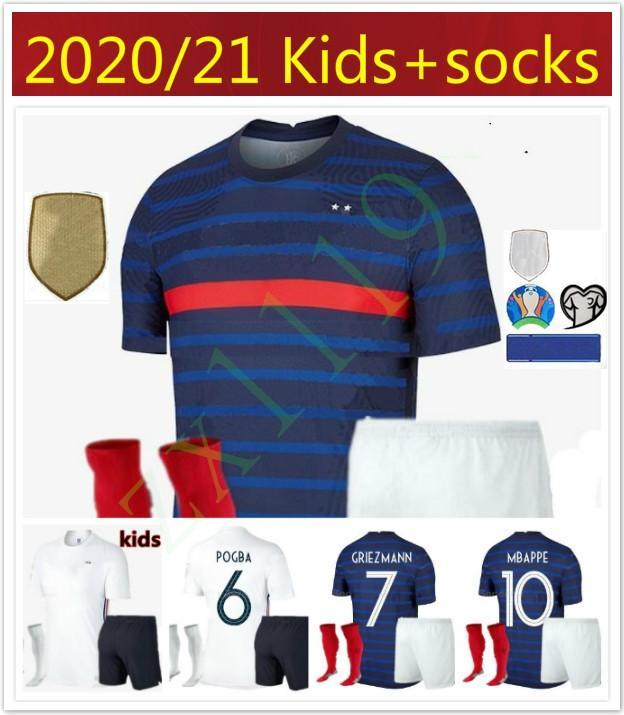 erkekler çocuklar Fransa MBAPPE futbol formaları çocuk kitleri 2020 2021 Griezmann Pogba Futbol gömlek 20 21 PAVARD Kanté yetişkin erkek Tam set Üniforma
