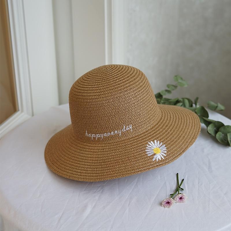 zhlMI mode féminine paille été style coréen de broderie marguerite mode de paille brodé tout-match chapeau de soleil chapeau bassin pliable casual