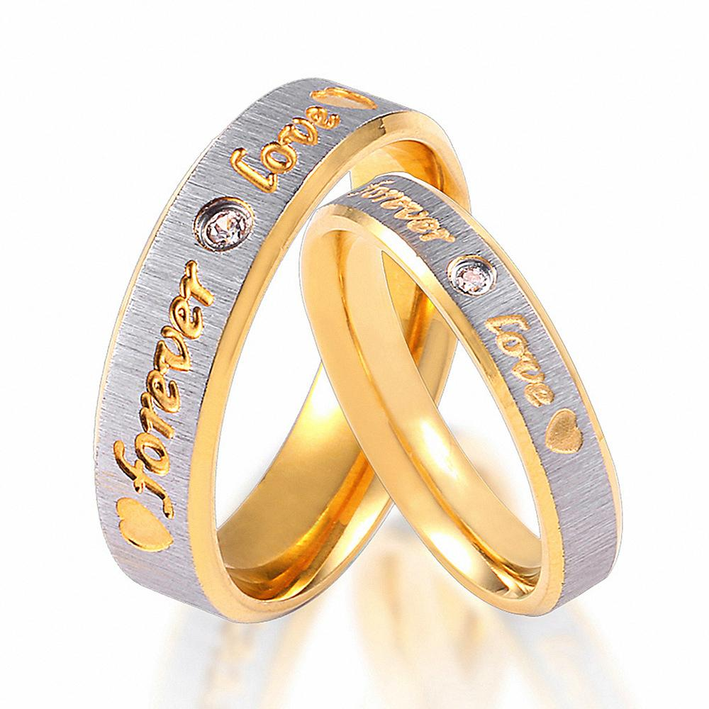 Men Women Titanium Steel Love Rings Diamond Wedding Engagement Rings Fashion Gold Plated Couple Ring Jewelry