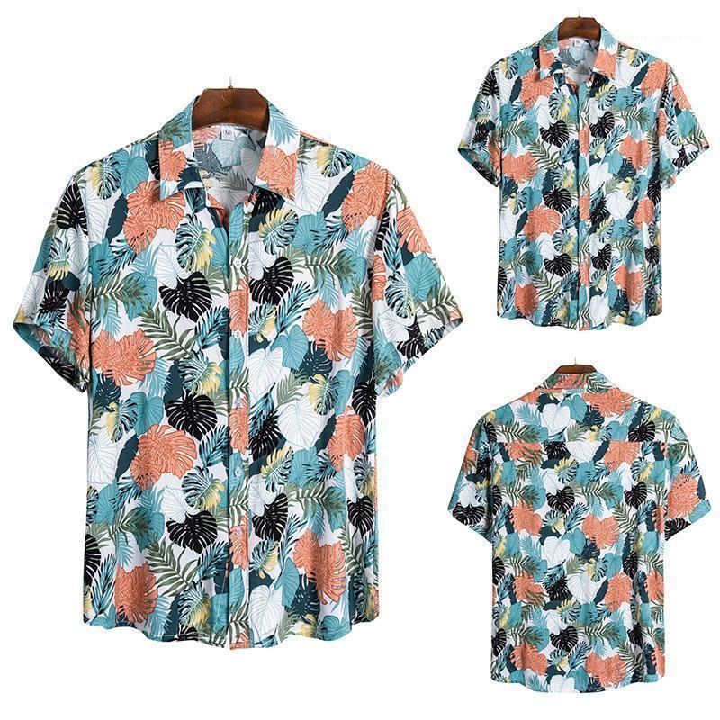 Pecho para hombres solo para hombre Ropa de diseño Hawaii camisas de la solapa del cuello de flores de verano Imprimir Mens del Cardigan