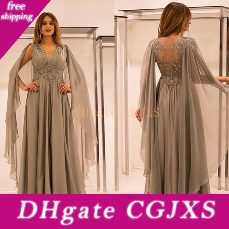 2020 Nova Formal Prata Chiffon Mãe da Noiva Vestidos V Neck Lace apliques de contas Com Cabo Plus Size vestido de festa vestidos de noite formal