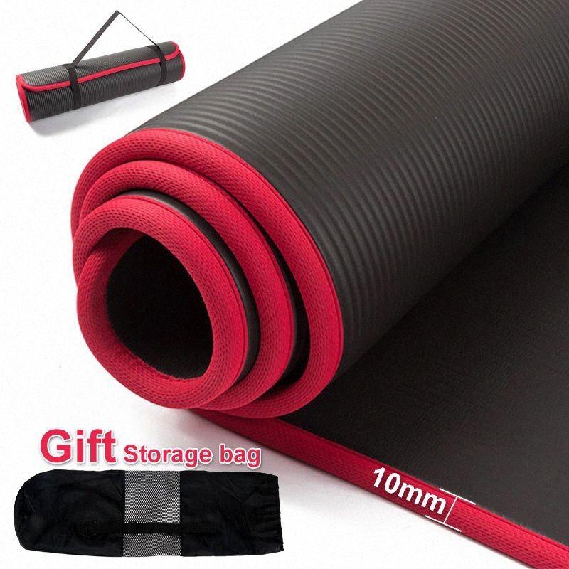 Yoga-Matten 10 MM Extra dicke 183cmX61cm Qualitäts NRB Anti-Rutsch-Yoga-Matten für Fitness Tasteless Pilates Gym Übung Pads mit Bandage l0B3 #