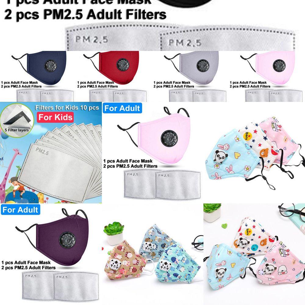 PM2.5 Yeniden kullanılabilir Yüz Maskeleri Maske Yıkanabilir Anti-toz 2 Filtre Vana Koruyucu Pamuk Ch GKFK1