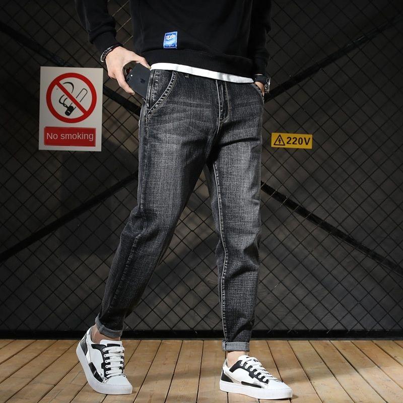 2019 autunno pantaloni bag lato grigio scuro giovani antifurto sottile tubo diritto stile coreano harem jeans e jeans uomo uomini di modo