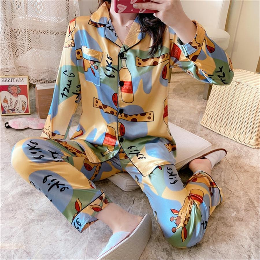 Bahar Girlsdarin Lady Sleeping Uzun kollu İpek Pijama İçin Kız Saten Pijama Erkek Çiçek Baskılı pijamalar Gecelik Ev Giyim # 159