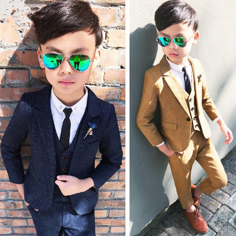 Fashion Boys Solid Suit Set for Wedding Party Performance Costume Kids Blazer Vest Pants 3pcs Formal Flower Boys Wedding Suit