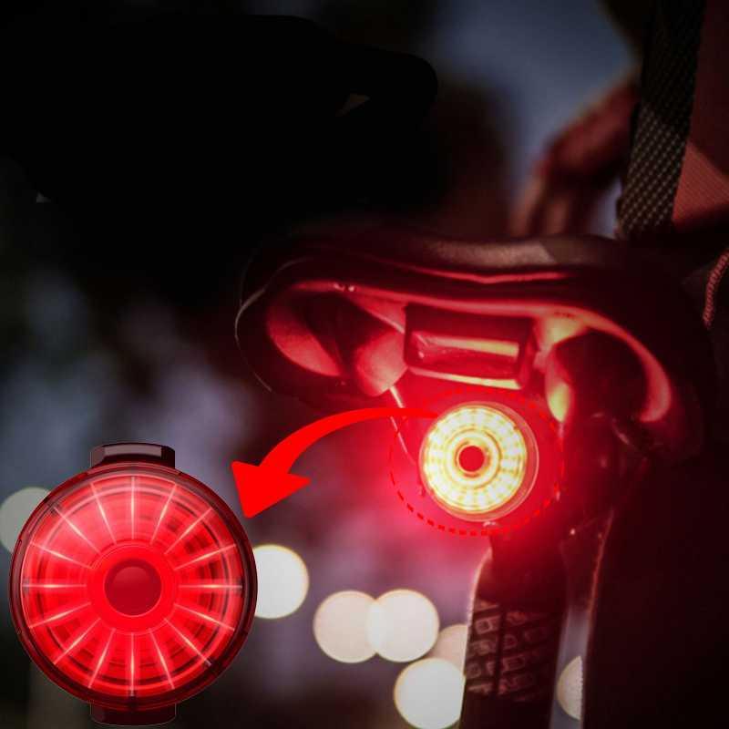 Bicicleta luz trasera impermeable a caballo trasero luz LED USB cargable inteligente freno que detecta la lámpara de cola de montaña de la bicicleta de ciclo de la cola-lámpara