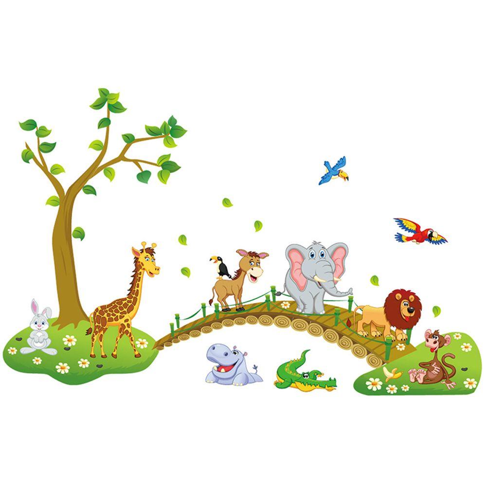 3D мультфильм милые животные дерево мост трава цветок шаблон стикер стены декора дома