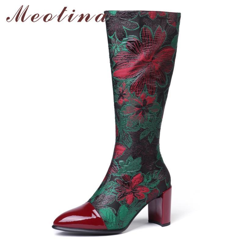 Rodilla Meotina invierno Altas botas natural de las mujeres de cuero auténtico postal grueso tacón alto botas largas de flores Zapatos punta estrecha Señora 34-43